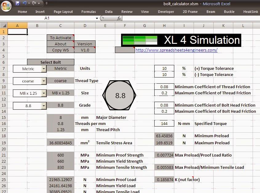 Spreadsheets 4 Simulation: Bolt Preload Calculators
