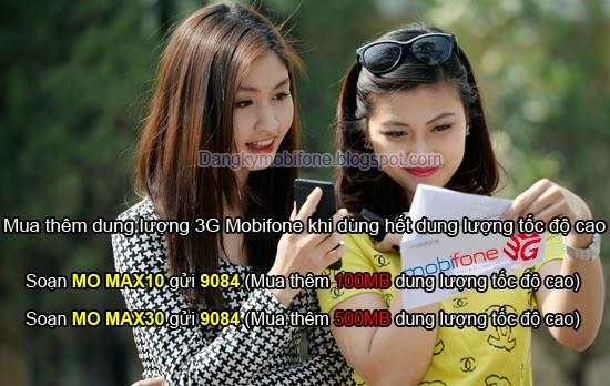 Mua thêm dung lượng 3G Mobifone tốc độ cao