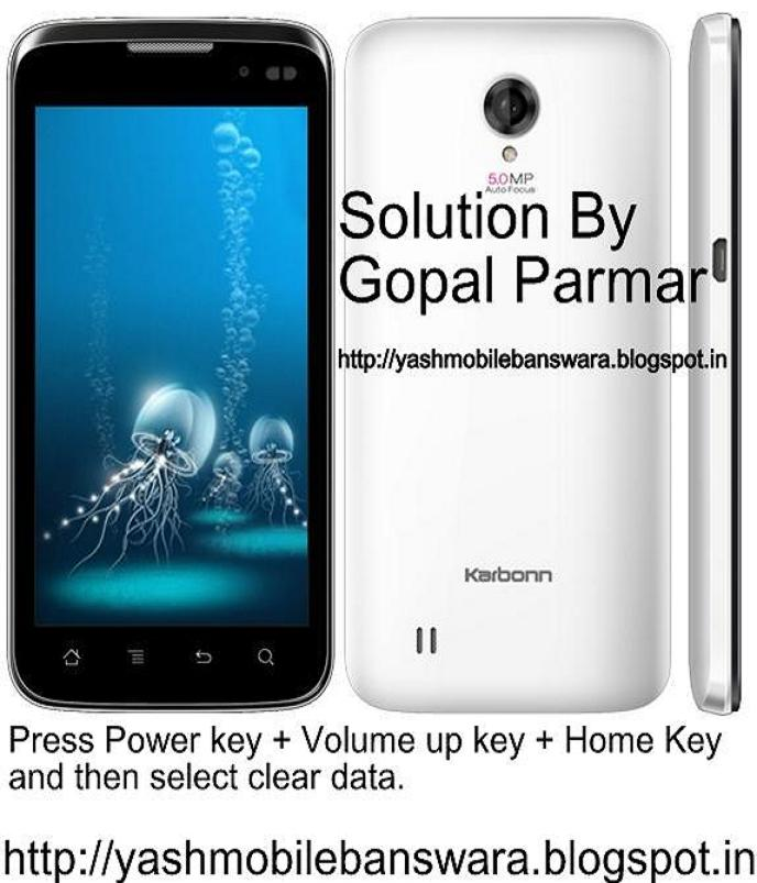 Karbonn A21 Hard Reset By Yash Mobile Banswara