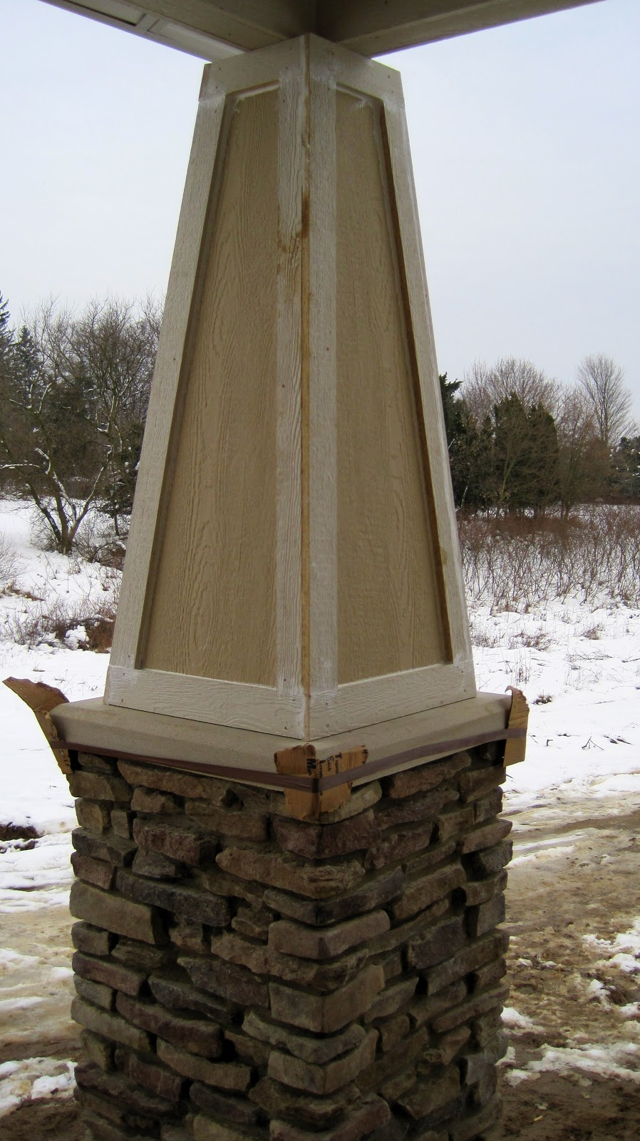 Stacked Stone Pillar : I married a tree hugger kitchen is in columns are up