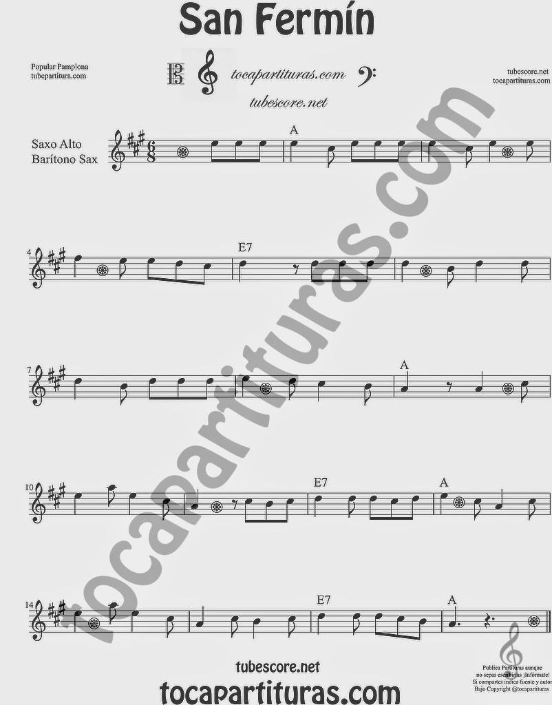San Fermín Partitura de Saxofón Alto y Sax Barítono Sheet Music for Alto and Baritone Saxophone Music Scores