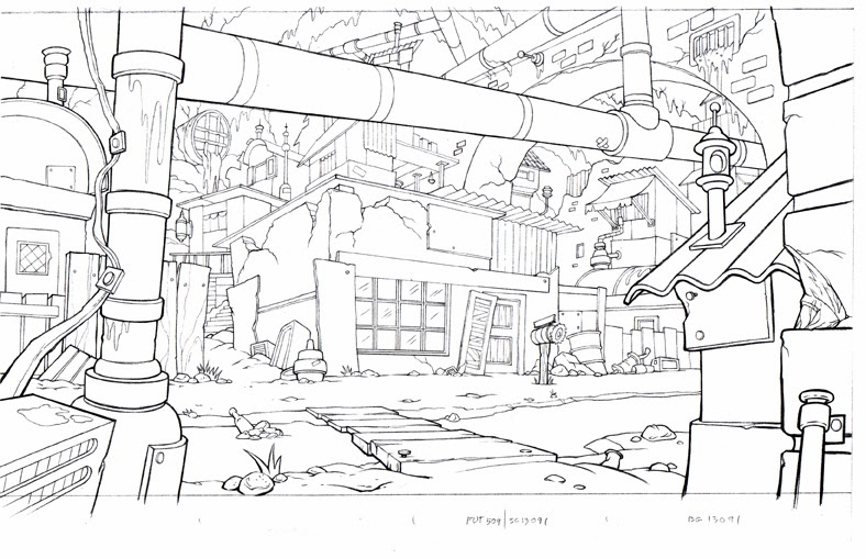 Line Drawing Backgrounds : Art of starnes animation background layout line