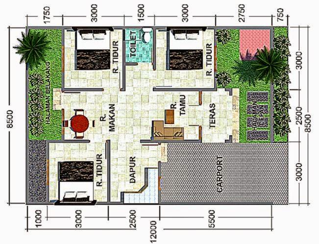 Gambar Denah Rumah Minimalis Sederhana 3 Kamar Tidur  Arsitek