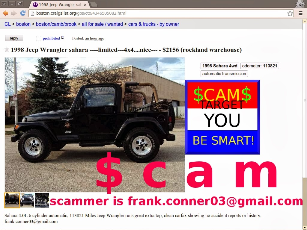 vehicle shipping scam ads on craigslist - update 02/23/14