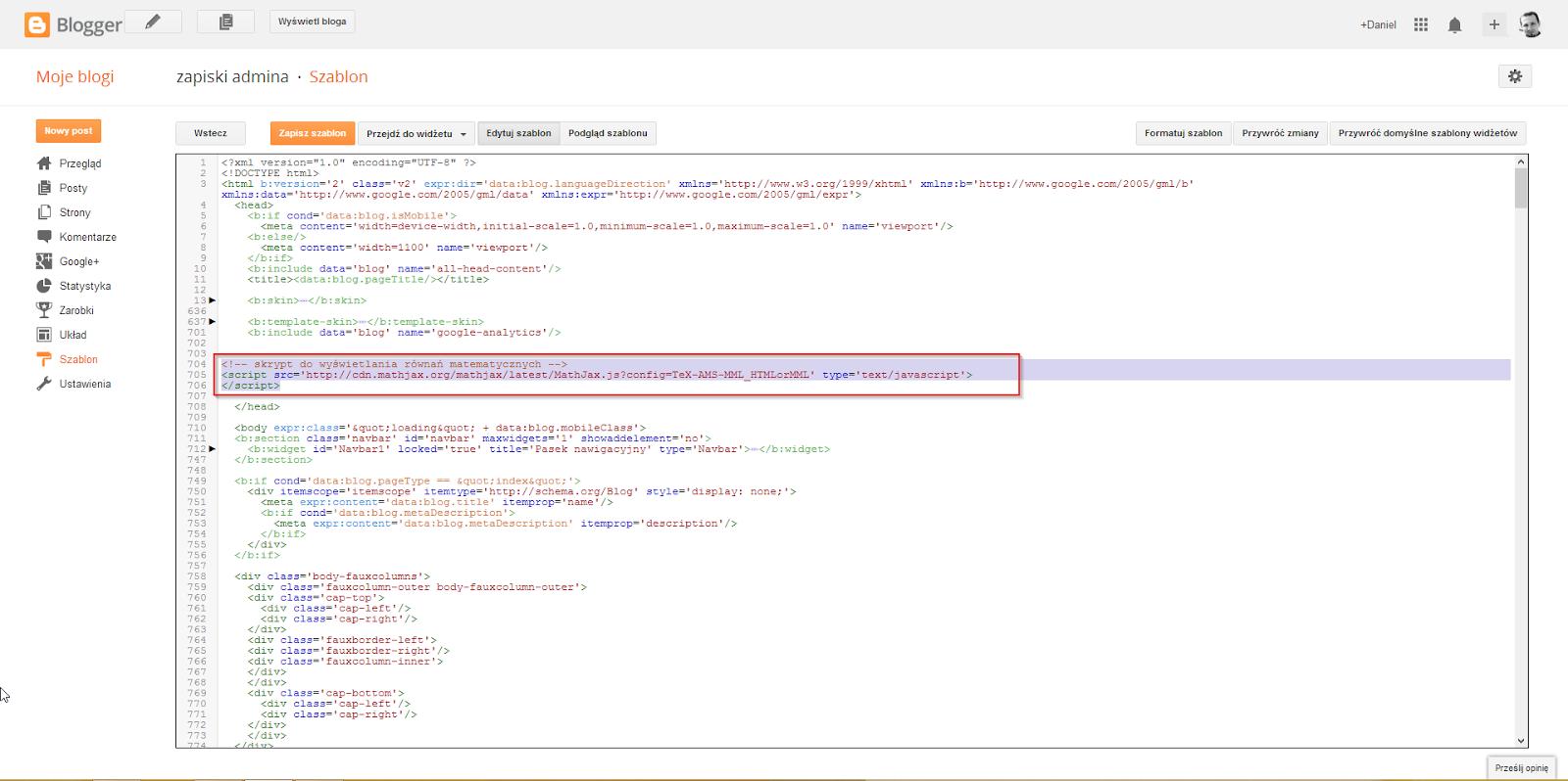 Kod MathJax wstawiony w stronę niniejszego bloga. Przed końcem sekcji head