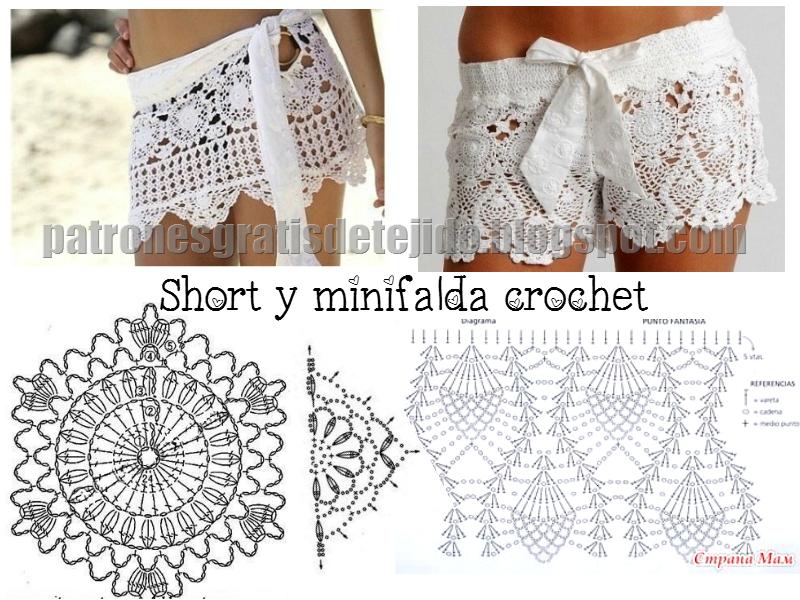 Short y falda cubre malla crochet