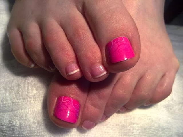 acrylic backfill-glitz French-LED polish LED French mini-pedicure with hot pink feat big toe and scroll tattoo design- Gel-Nails-Polish-LED-Polish-LED-Nails-Acrylic-Nails-Nail-Art