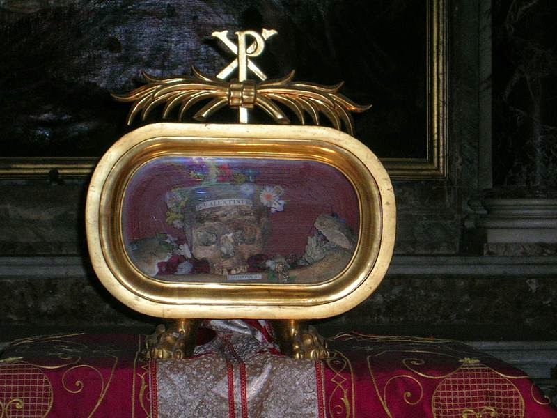 The flower-adorned skull of St. Valentine is on display in the side altar on the left side of the Church of Santa Maria in Cosmedin, one of the most spectacular sights of the Italian capital, which are usually on display in a glass reliquary and brought out for his feast day on February 14.
