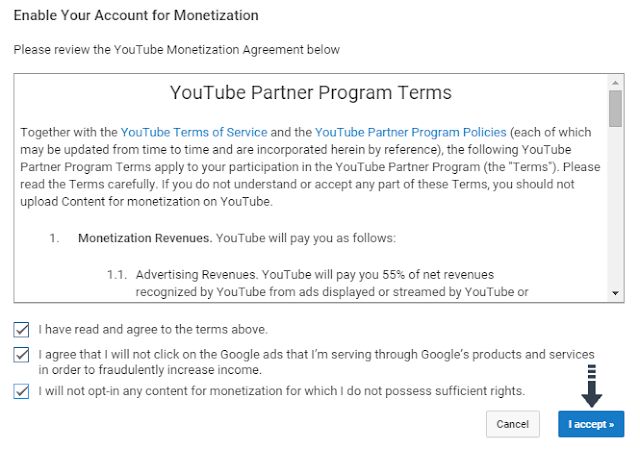 accept YouTube terms