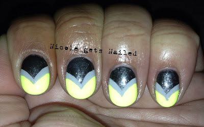 Neon Yellow and Grey Chevron