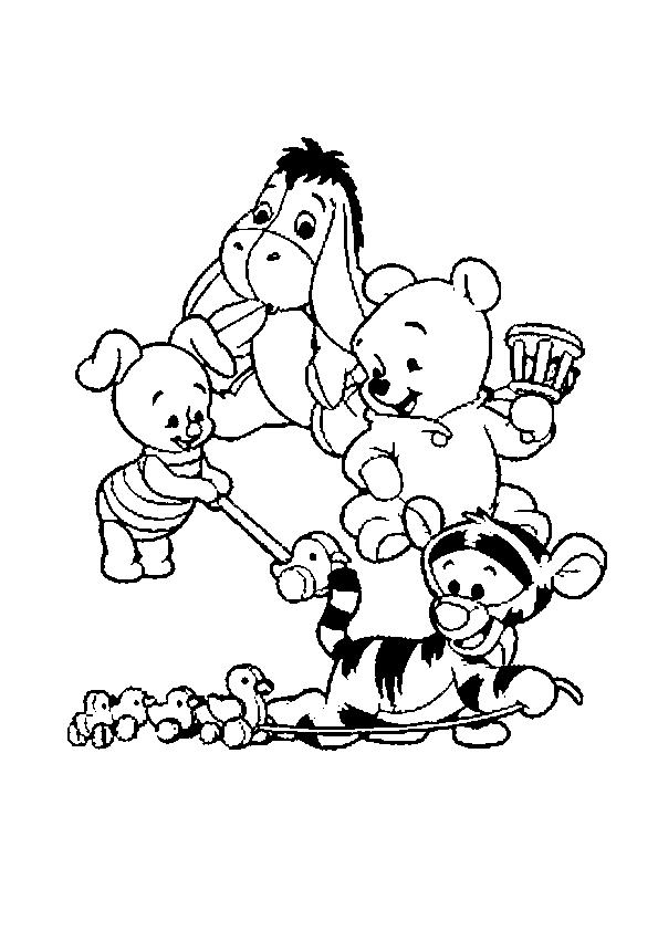 Hermosa Bebé Winnie The Pooh Y Amigos Para Colorear Composición ...