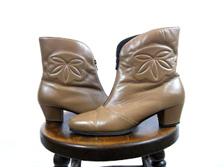 Tan Font-Zip Embroidered Leather Booties / Ankle Boots / Carla Boots (7.5)
