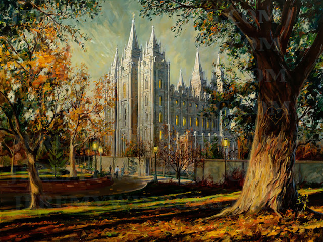 Salt Lake Temple in autumn painting oil on canvas with tree carved with initials on it