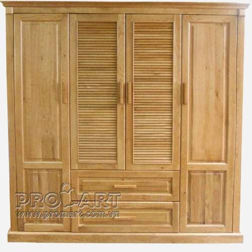 Tủ quần áo gỗ sồi Mỹ 4 cánh x 2 ngăn kéo, 200x206cm