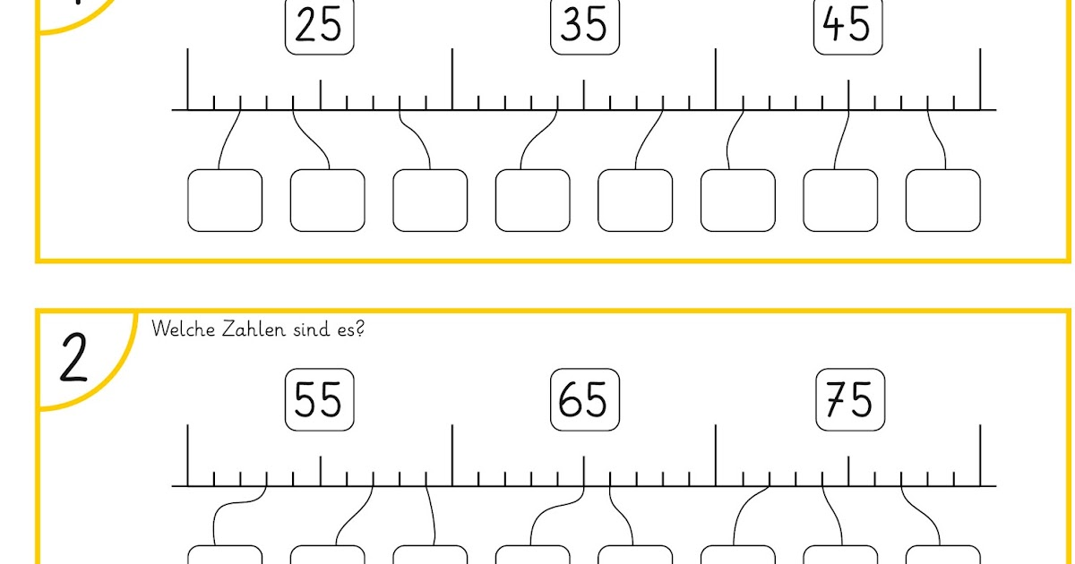 Lernstu00fcbchen: Zahlen am Zahlenstrahl eintragen (2)