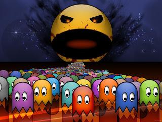 Old school HD colourful Pacman Ghost retro desktop wallpaper