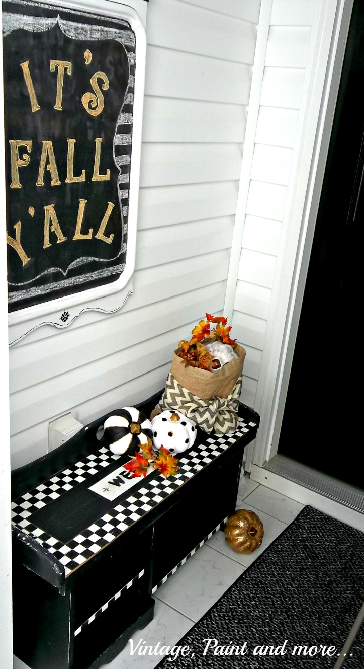 Vintage, Paint and more... black, white and gold painted pumpkins in a whimsical fall enryway