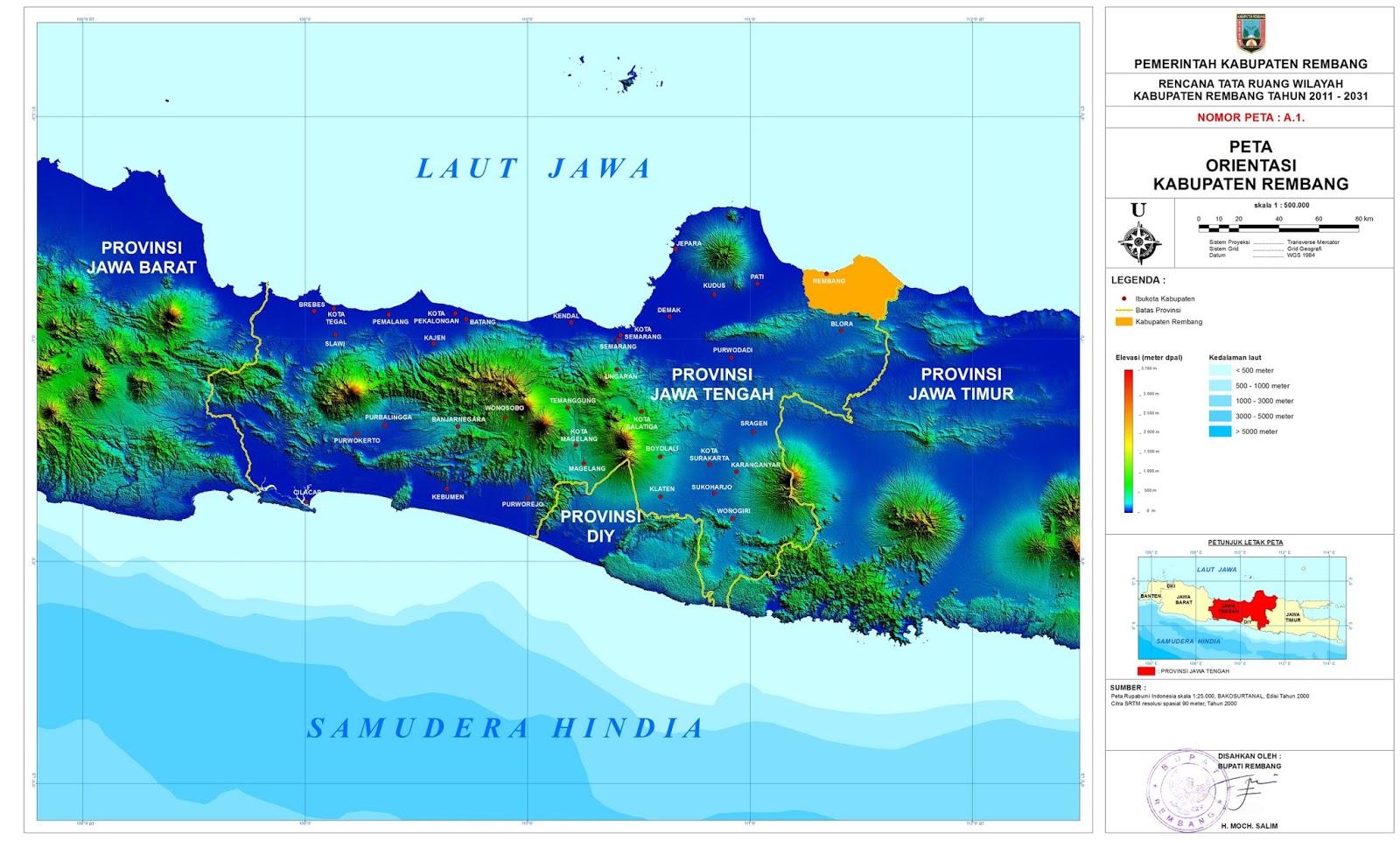 Peta Lengkap Indonesia Orientasi Kabupaten Rembang Gambar Topografi Pulau Jawa