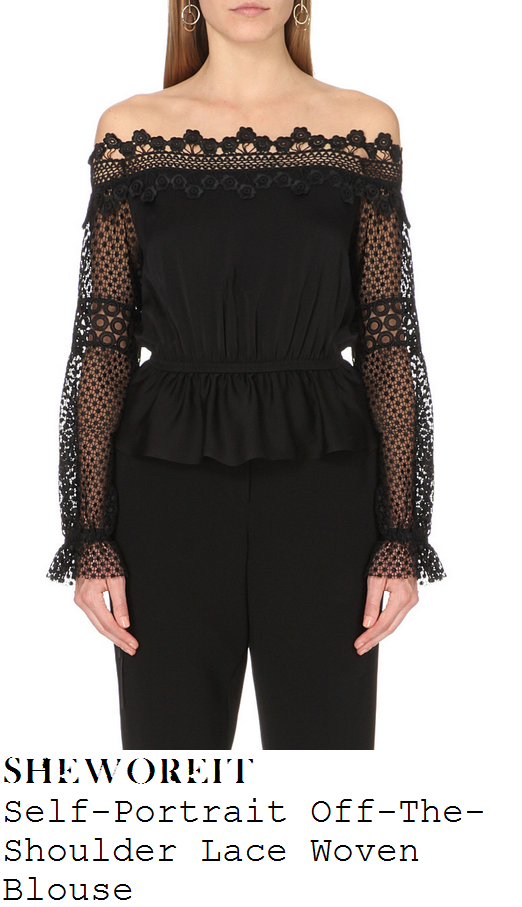 caroline-flack-black-off-shoulder-sheer-lace-bardot-top-x-factor