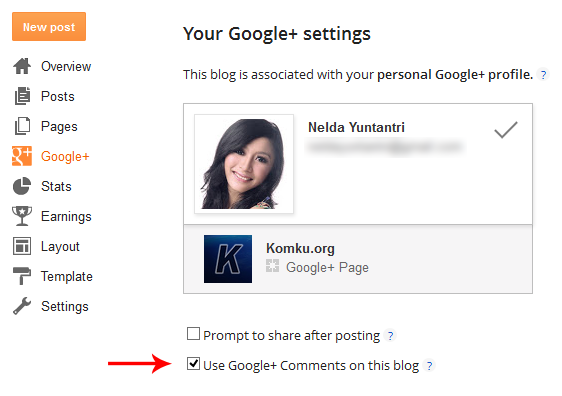 google plus settings blogger