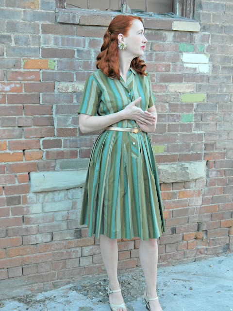 1960s Jean Sutton Casuals dress green striped shirt waist Just Peachy, Darling