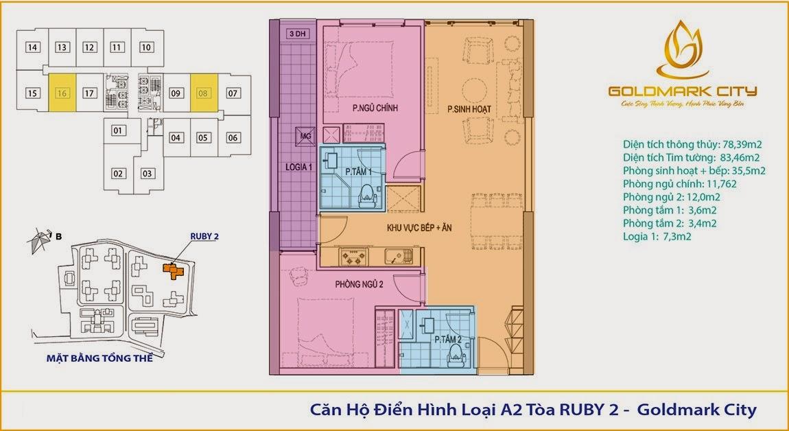 mặt bằng chung cư goldmark city ruby 102