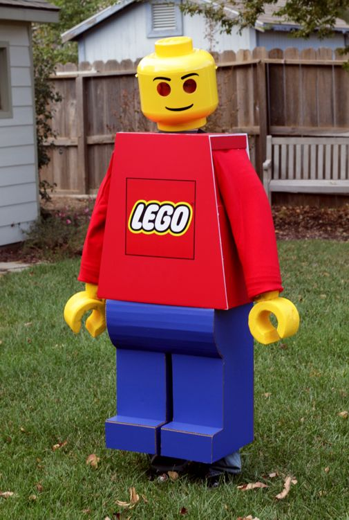 As Jack Pollington explains in his Lego costume tutorial, constructing a Lego character is easy, requiring only a few simple supplies. Gather a cardboard box, a plastic flowerpot, a black marker, tape, and enough yellow construction paper to make a giant head.