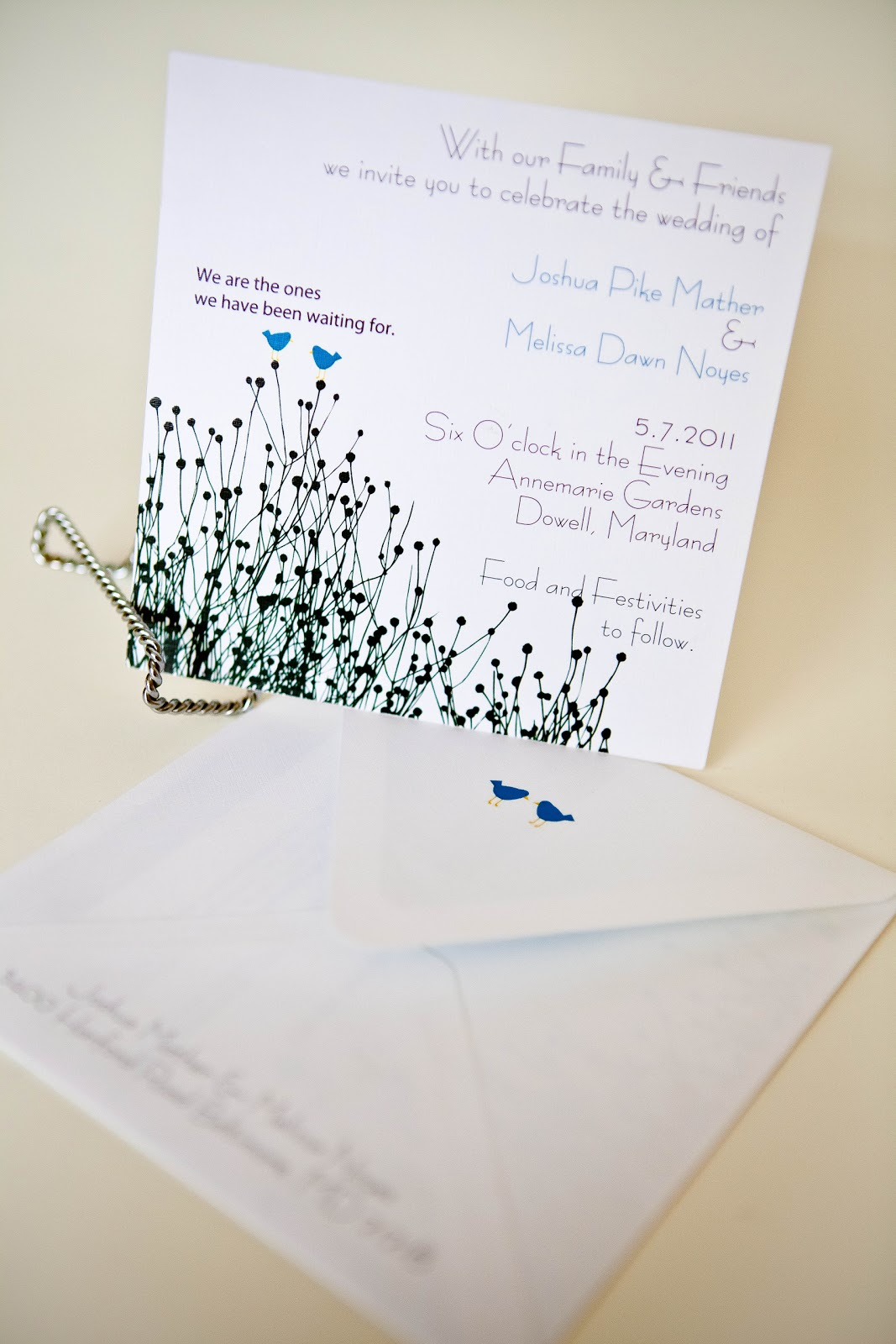 Simple Bird Designed Invitation • Wedding Invitations Baltimore ...