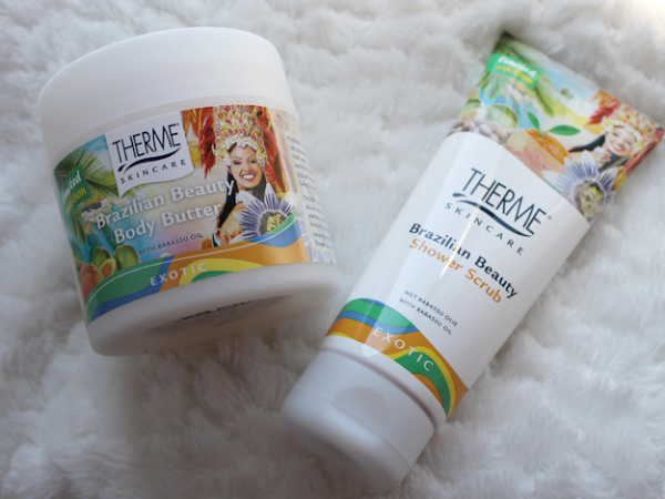 Therme Brazilian Beauty Body Butter & Shower Scrub.