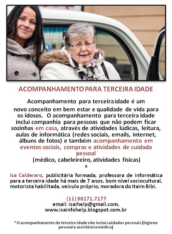 ACOMPANHAMENTO PARA TERCEIRA IDADE