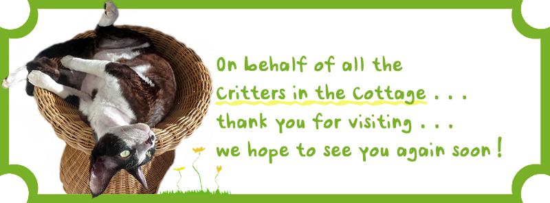 The Critters Thank You For Visiting! Drop by any time. . .we'll be here! XO