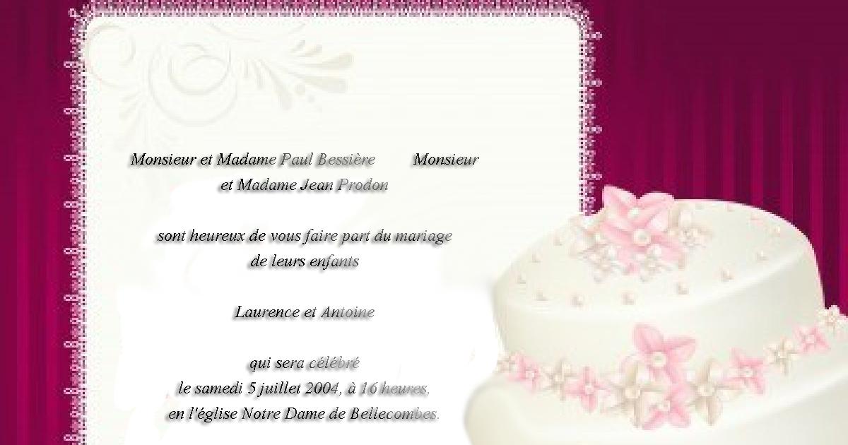 Texte pour la carte d'invitation de mariage