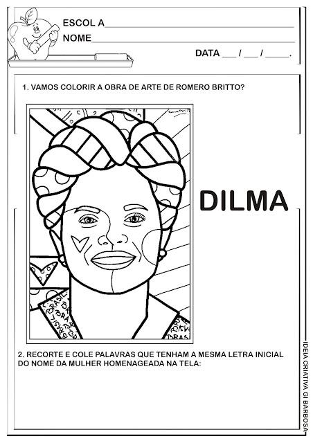 Atividade Letra D Releitura de Obra Romero Britto Presidente Dilma para Colorir