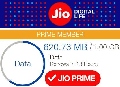 reliance jio high speed net balance for the day