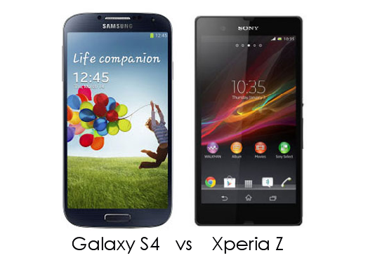 Sony Xperia Z vs Samsung Galaxy S4 Feature Comparison pros and cons