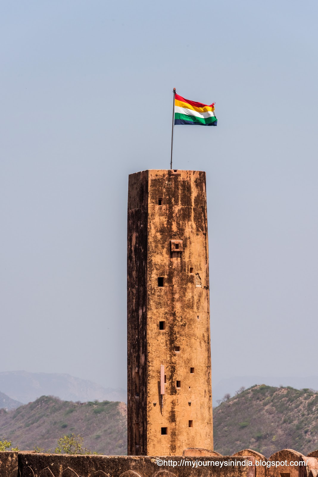 Rajasthan State Flag on Jaigarh Fort Jaipur