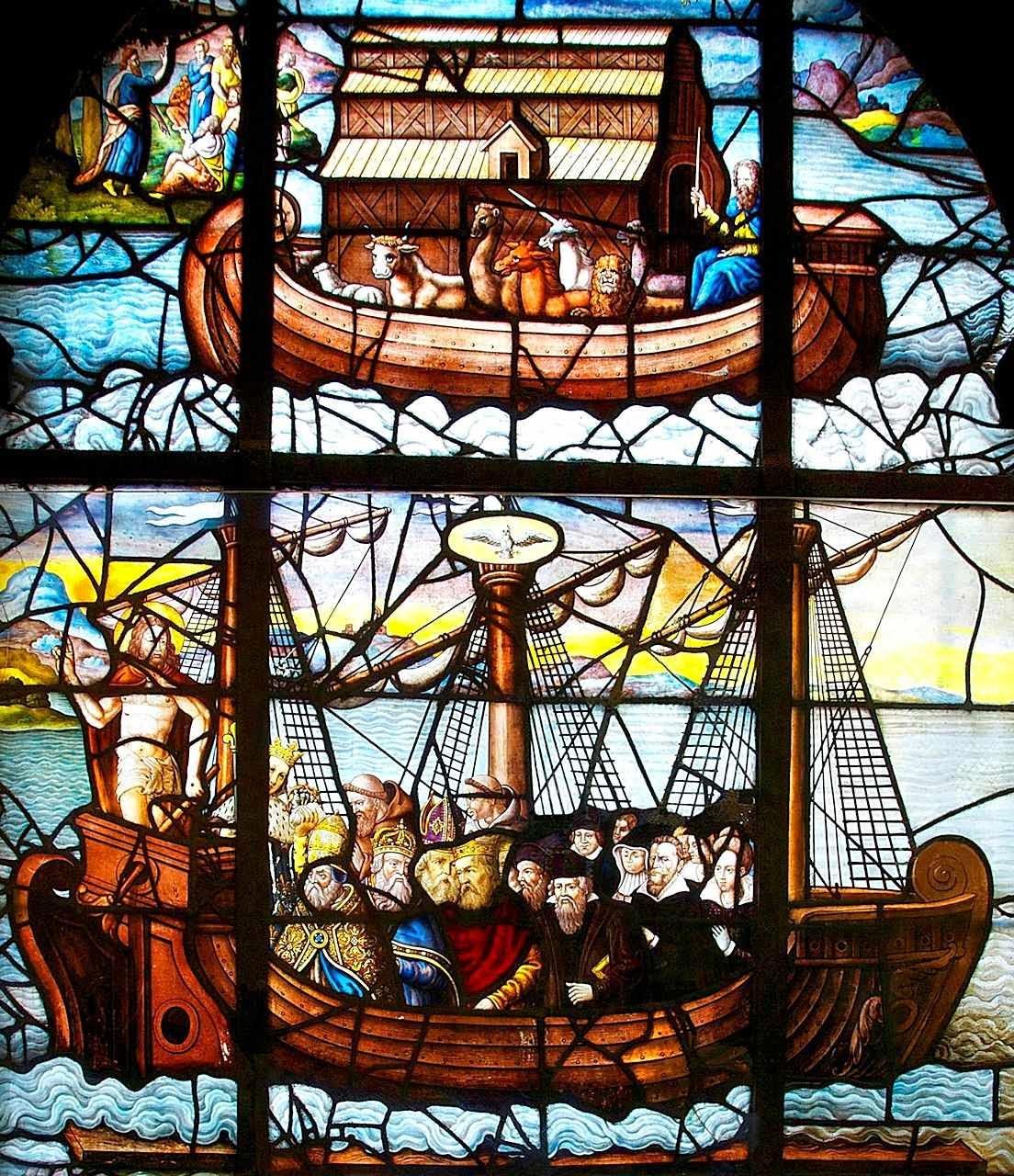 A Arca de Noé é prefigura da Igreja Católica, Arca da Salvação. Vitral da igreja de Saint' Étienne du Mont, Paris