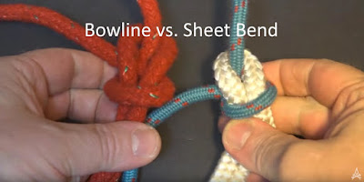 demonstration of differences between the bowline and sheet bend