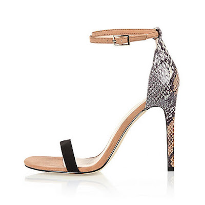 River Island  nude, black and snakeskin high heeled barely there sandals