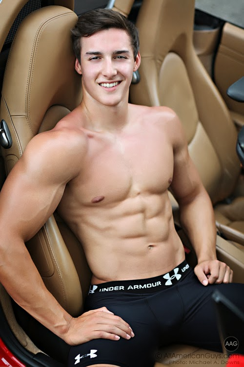Shirtless Sexy Athlete in Sports Car