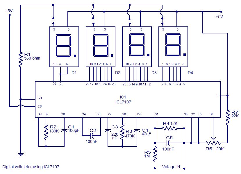 Elex Idea Blog  Digital Voltmeter Using Icl7107