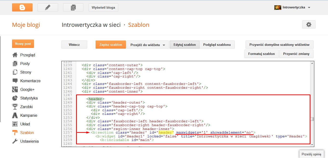 Kod HTML - nagłówek
