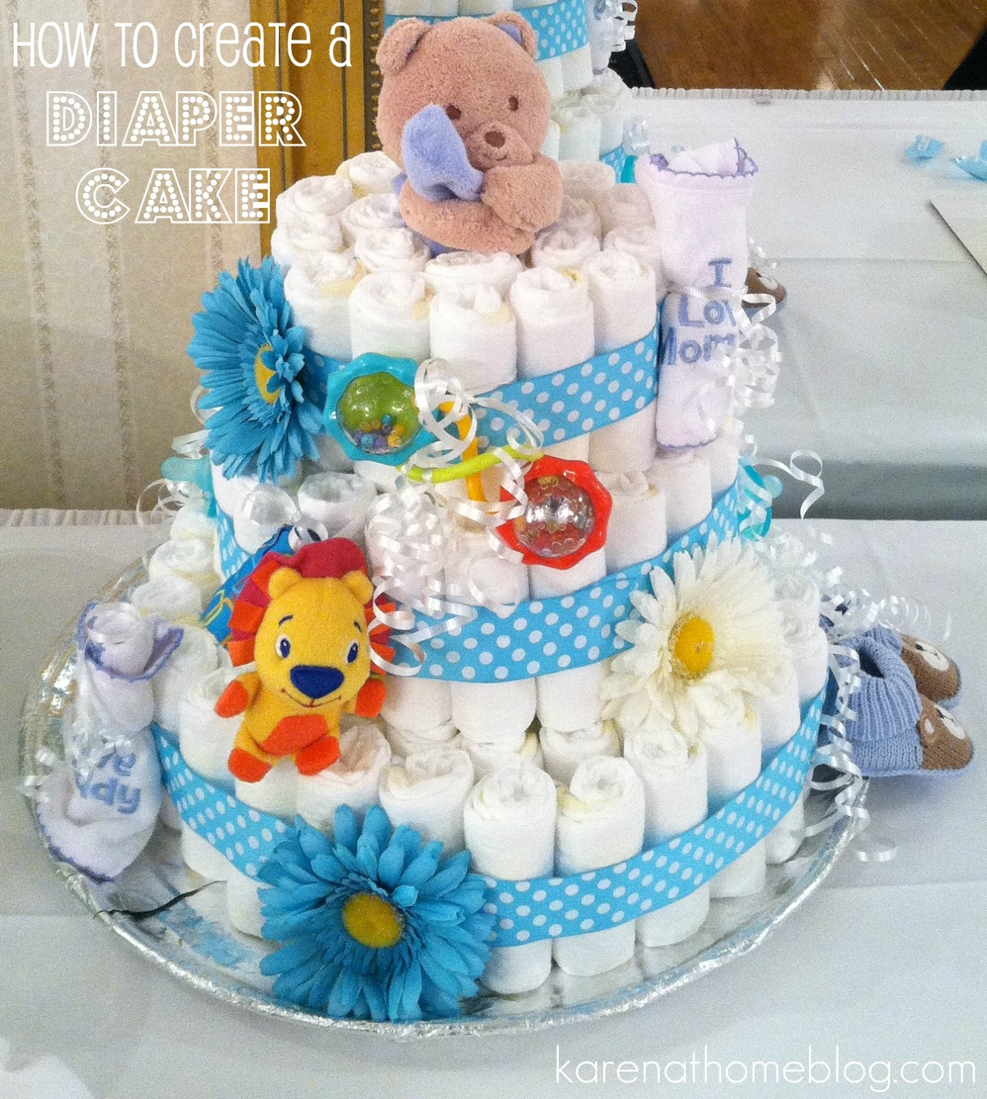 Karen at home how to make a diaper cake hello all i hope you had a nice weekend it was a busy one here for one for us yet we are no where closer to getting the babys room done publicscrutiny Image collections