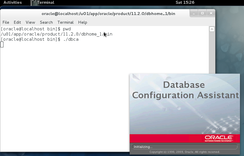 how to create database in oracle 11g using command prompt