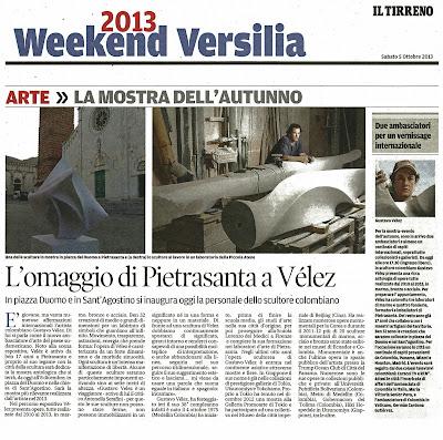 Periódico Il Tirreno.  La Versilia, Italia. Sábado 5 de cotubre de 2013