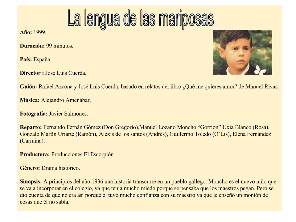 la lengua de las mariposas essays Manuel rivas (ur 26 października 1957 w la articles and literature essays (en) manuel rivasfichier:manuel rivasjpg manuel (la lengua de las mariposas.