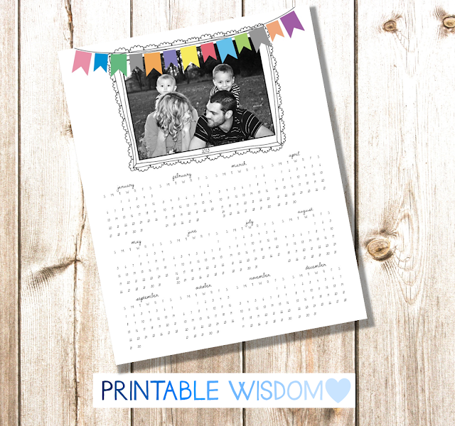 PrintableWisdom giveaway... Year-at-a-glance calendar personalized with YOUR photo!