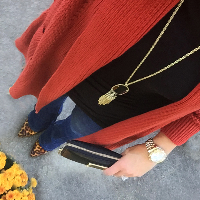 long cardigan, leopard, rust, fall colors, michael kors, kendra scott rayne necklace