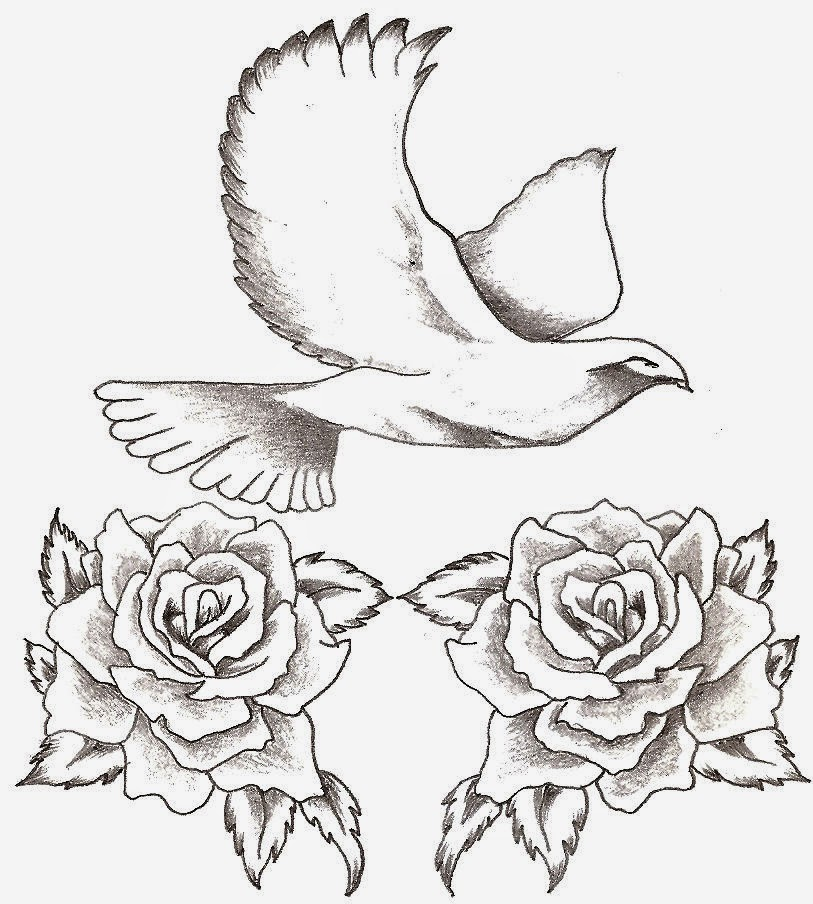 Roses and doves tattoo images for Two doves tattoo