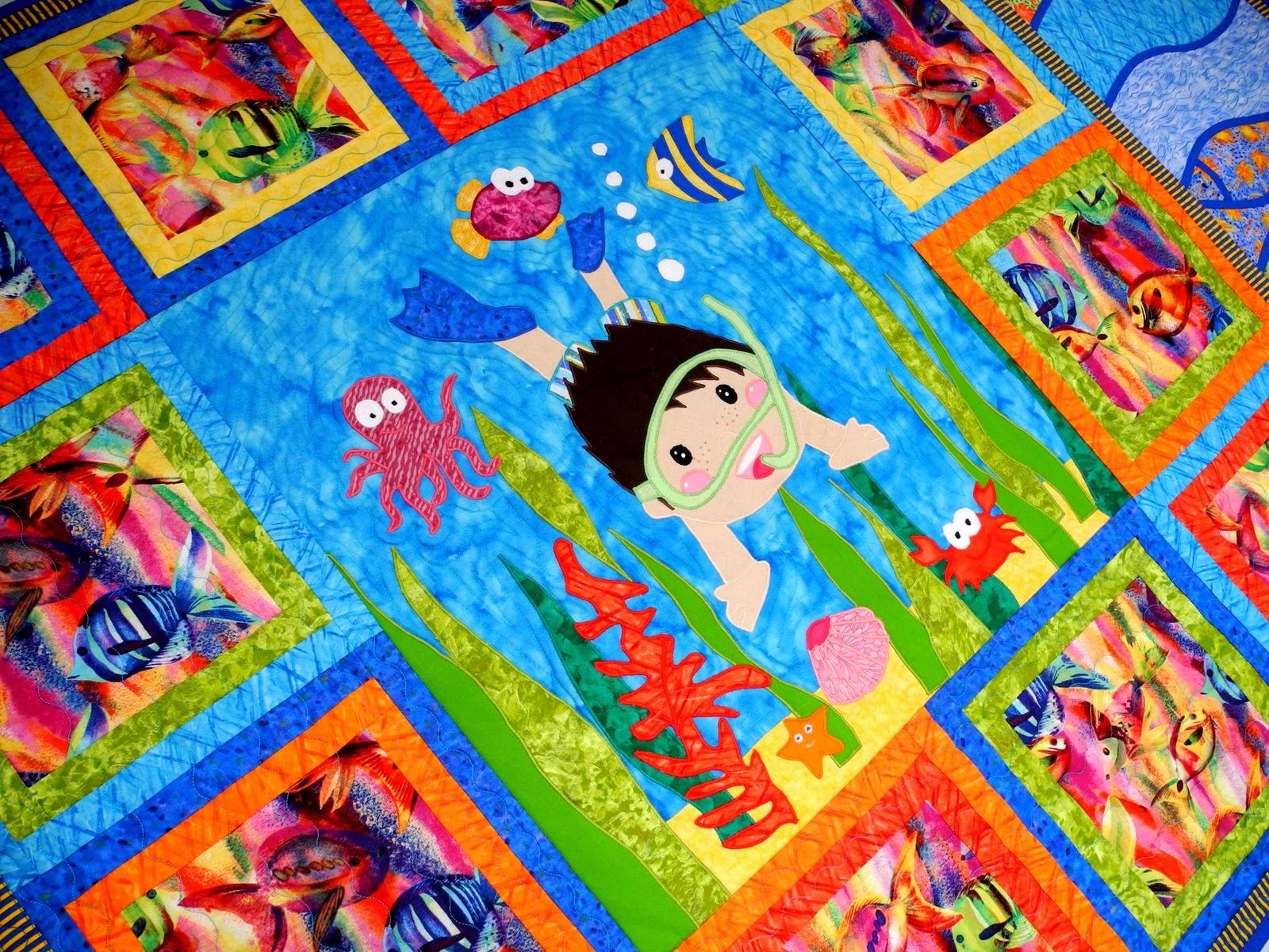 Лоскутное одеяло детское Лоскутное детское одеяло Пэчворк одеяло детское Пэчворк покрывало  Лоскутное шитье рыбки Пэчворк плед Нептун Пэчворк покрывало купить Лоскутное шитье Рукоделие